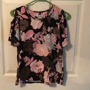 3/$6! Floral Print Cold Shoulder Top